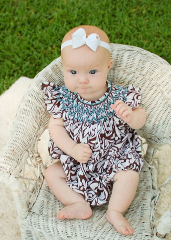 Baby Girls Amy Brown Damask Bubble Romper--Carousel Wear - 2