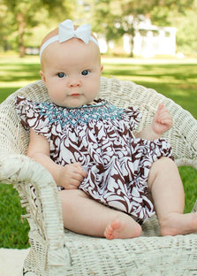 Baby Girls Amy Brown Damask Bubble Romper--Carousel Wear - 1