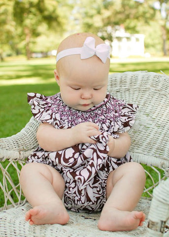 Baby girls pink chevron smocked bubble romper in Damask print--Carousel Wear - 2