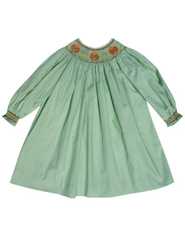 Girls Fall Bishop dress with Halloween pumpkins--Carousel Wear