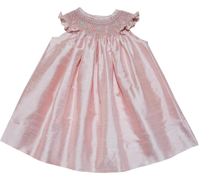 Anarose Pink Silk Bishop Dress for Girls--Carousel Wear - 1
