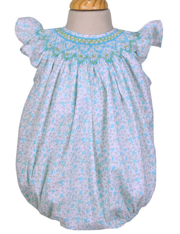 Janel Baby Girls Smocked Beach Bubble Romper--Carousel Wear - 1