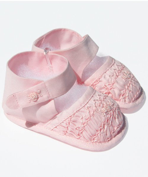 Infant Baby Girls Pink Smocked Shoes--Carousel Wear - 1