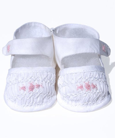 Infant Baby Girls Shoes White and Pink Smocking--Carousel Wear - 2
