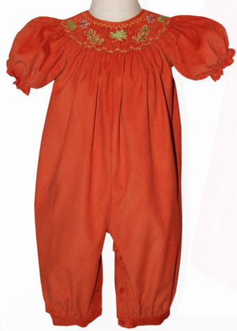 Smocked Fall Leaves Baby Girls Long Bubble Scarlet for Thanksgiving--Carousel Wear - 1