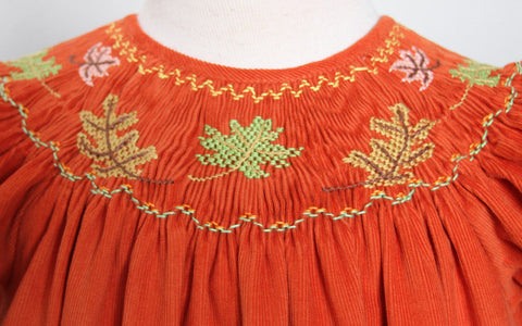 Smocked Fall Leaves Girls Bishop Dress Rowan for Thanksgiving--Carousel Wear - 2