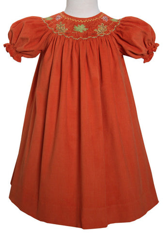 Smocked Fall Leaves Girls Bishop Dress Rowan for Thanksgiving-5 / Red-Carousel Wear - 1