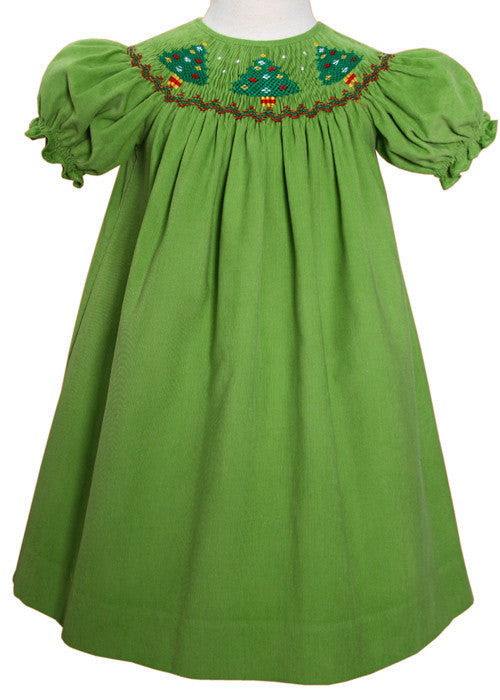 Jolly Holiday Girls Dress With Smocked Christmas Trees
