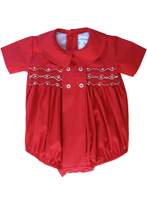 Baby Boy Red Timothy Hand Smocked Cotton Bubble