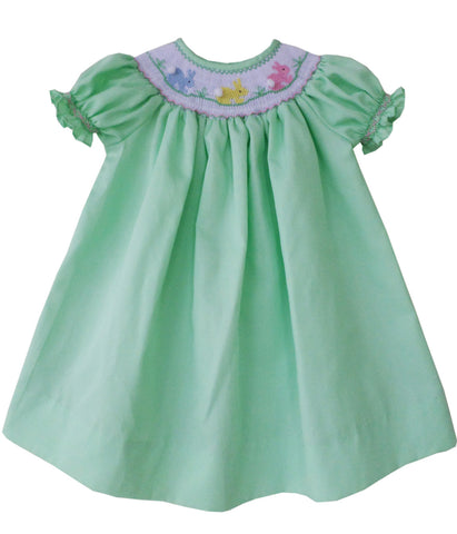 Girls Dress in Green with the Smocked Bishop Easter Bunny--Carousel Wear