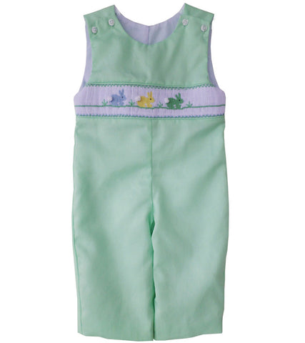 Little Boy Longall with Smocked Easter Bunnies in Green 6m--Carousel Wear - 1