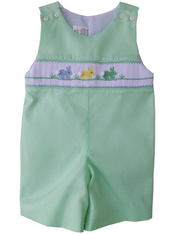 Little Boy Shortall with Smocked Easter Bunnies in Green--Carousel Wear - 1