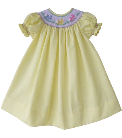 Girls Dress in Yellow with the Smocked Bishop Easter Bunny--Carousel Wear