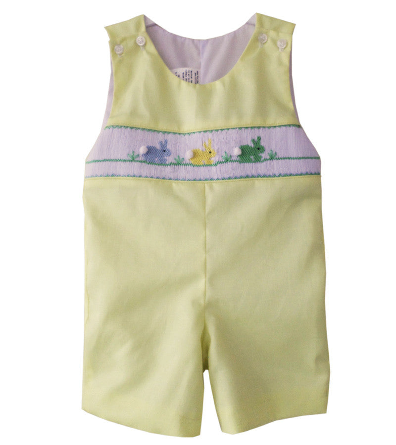 d999272aad7d Little Boy Shortall with Smocked Easter Bunnies in Yellow--Carousel Wear - 1  ...