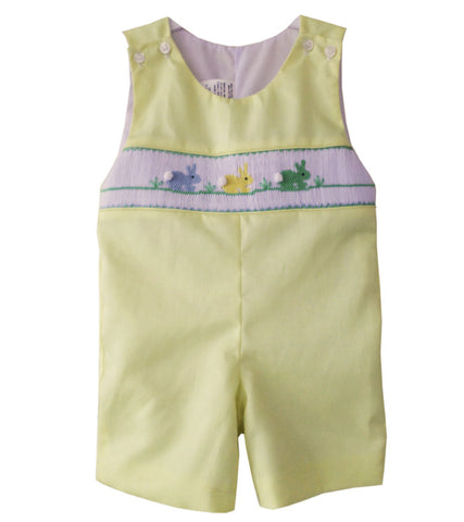 Little Boy Shortall with Smocked Easter Bunnies in Yellow--Carousel Wear - 1