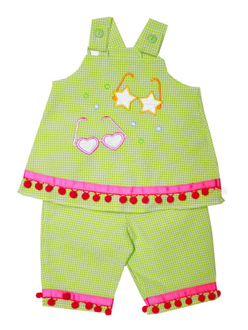 Beautiful Toddler Girls 2pc Summer Outfits with Pom Poms