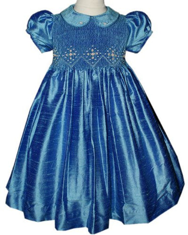 Girls Silk Smocked Jewel Holiday Dress--Carousel Wear - 2