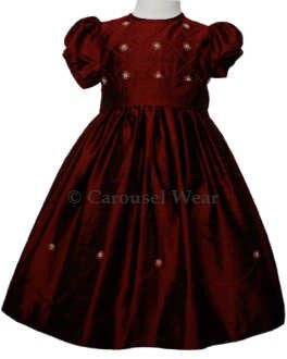 Burgundy holiday hand embroidered silk dress 2T--Carousel Wear - 2