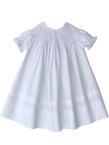 White Girls Christening Bishop Smocked Cross Dress