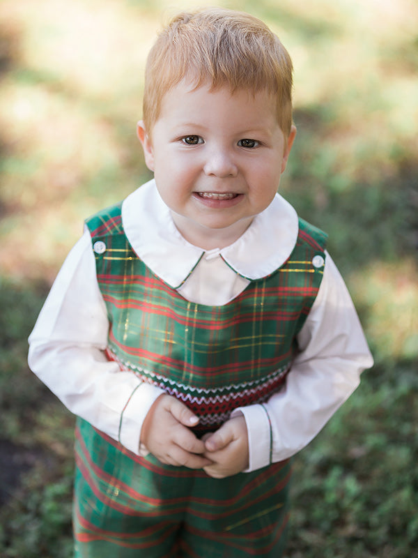 Baby Boys Christmas Outfits Smocked Green Tartan