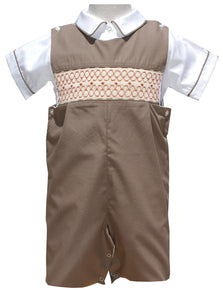 Boys Shortall Smocked in Brown for Fall and Thanksgiving size 6 Months--Carousel Wear - 1