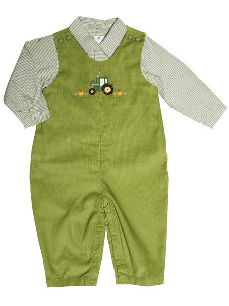 Baby Boy Thanksgiving Green Overalls Tractor Pumpkin