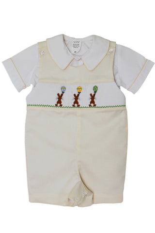 Boys Easter Shortall with Smocked Chocolate Bunny--Carousel Wear - 1