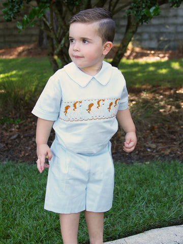 Little boys clothing with smocked horses