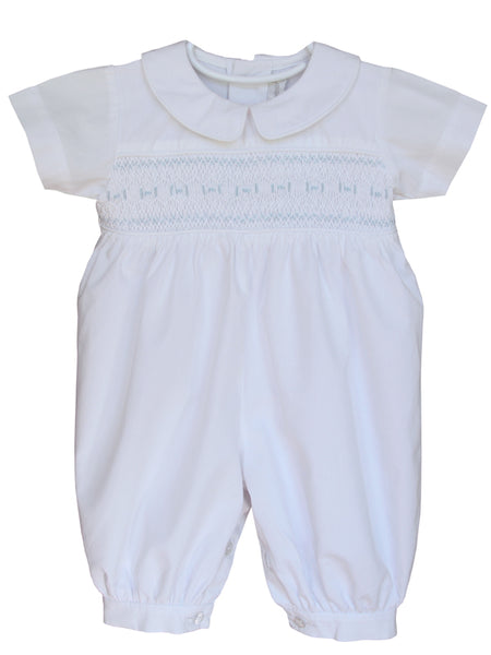 Hand smocked baby boy christening outfit