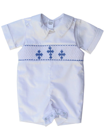 Boys Christening Baptism White Smocked Shortall   Pre-Order