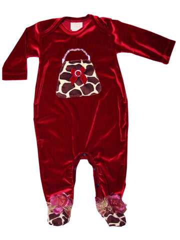 Baby Girls Christmas Footie in Burgundy Velvet 6-9m