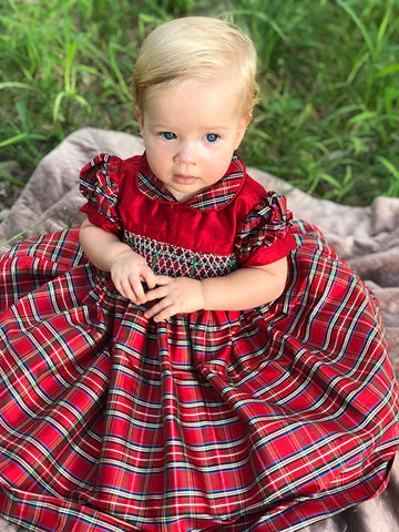 First Baby Girls Christmas Smocked Tartan Dress with Petticoat