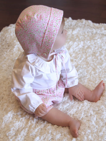 infant baby girl's easter bonnet bloomers ruffle shirt set