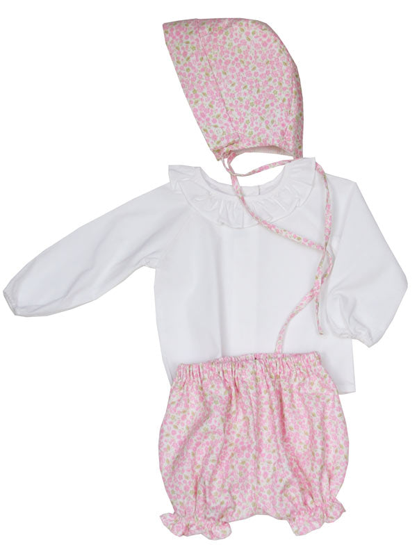 Baby Girls Pink Bonnet ruffle blouse and bloomers