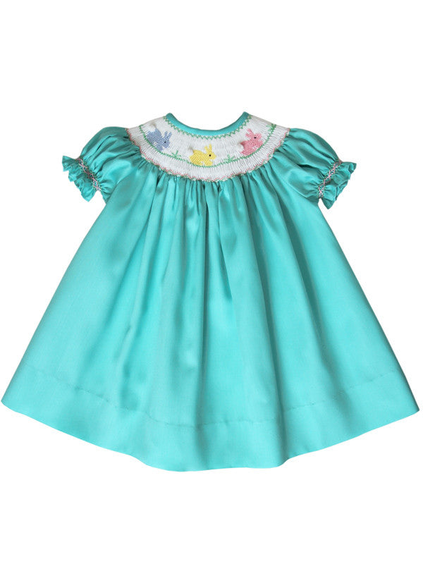 Aquamarine Girls Bishop Dress with Smocked Easter Bunny--Carousel Wear - 3