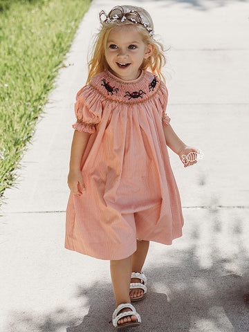 Hand Smocked Halloween Girls Bishop Dress