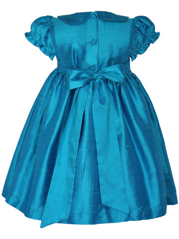 Turquoise silk smocked heirloom girls dress