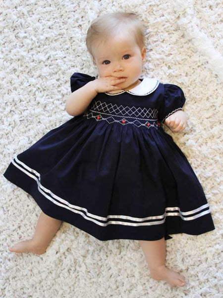 Girls Navy Hand Smocked Sailor Dress up to Size 8