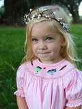 Herman Lily Monster Halloween Smocked Girls Pink Bishop Dress