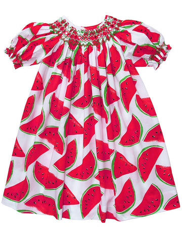 Infant baby girls smocked watermelon dress