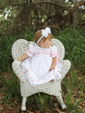 White Girls Hand Smocked Heirloom Dress