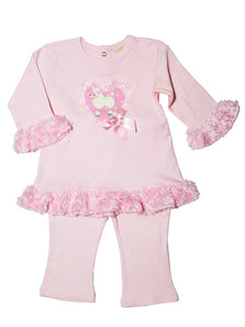 Baby Girls Pink 2Pc  Outfit Poodle Set