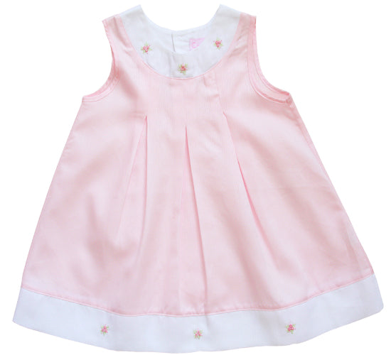 Fine White and Pink Hand Embroidered Baby Girls A-Line Dress
