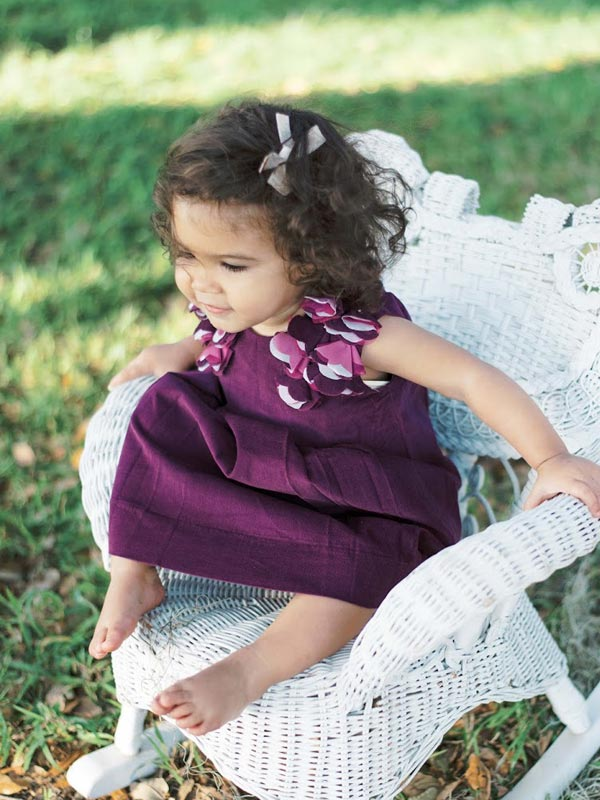 Fine baby girls special occasion  purple corduroy jumper dress
