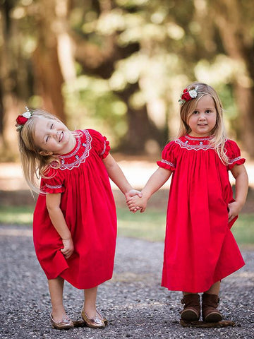 Hand Smocked Christmas Bishop Dresses for Toddler Girls