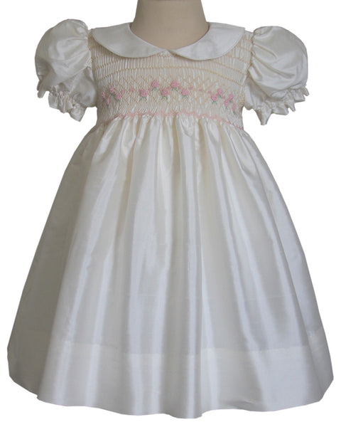 Formal Girls Silk Dress with Pink Smocking Carmen--Carousel Wear