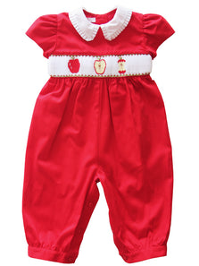 Back To School Hand Smocked Apples Baby Girls Red Long Bubble Dress