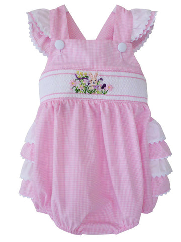 Girls Pink Smocked Easter Bunny Bubble