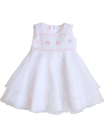 Baby Girls Special Occasion Smocked Organza Dress 12m