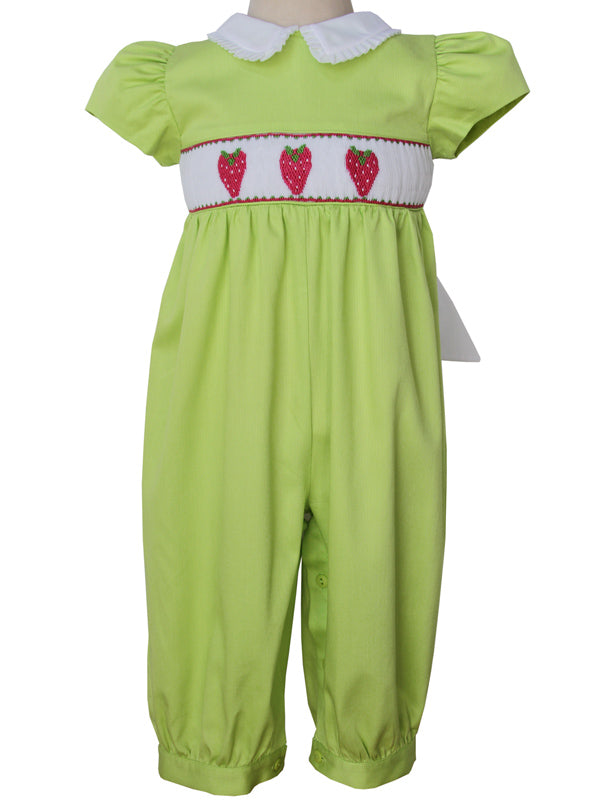 Beautiful baby girls long bubble romper with hand smocked strawberries